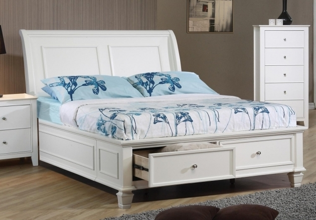 Modern White Teak Wood Queen Size Bed Frame Full Size Platform Bed With Drawers Image 58