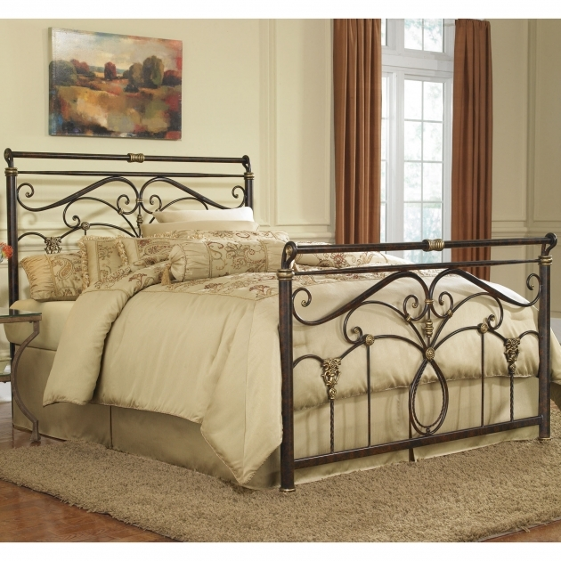Bed Frame With Headboard Antique Wrought Iron Frames For Your Bedroom With Cream Sheet And Shag Rug Picture 55