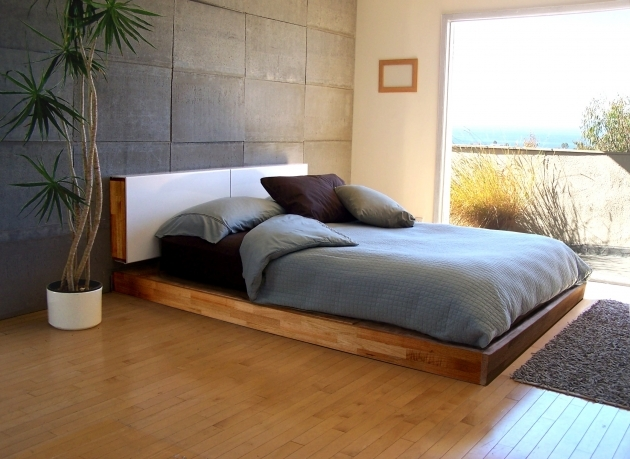 Bed Frame With Headboard Bedroom Furniture Unstained Teak Wood Low Profile Bed Frame Ideas With White Veneer Plywood Headboard Picture 58