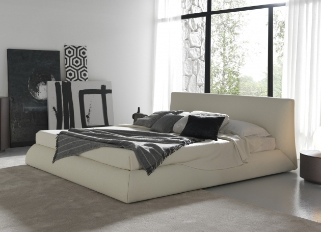 Bed Frame With Headboard Furniture White Leather Fabric Using Gray Blanket Added Black And Gray Cushions Pics 71