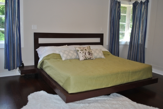 Bed Frame With Headboard Wooden Low Platform Floating Queen Plus Narrow Side Tables  Pics 25