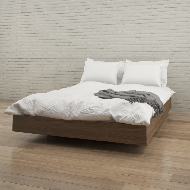 Bed Without Headboard Natural Walnut Wood Bed With White Bedding Set Placed On Varnished Photo 41