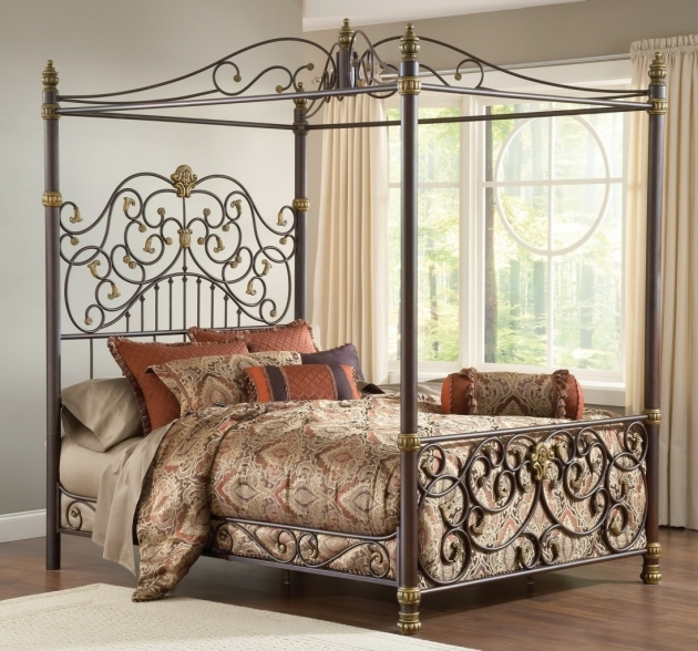 Brass Headboard Queen Royal Themed Metal Bed Frame Completed With Canopy And Luxury Covers Image 88
