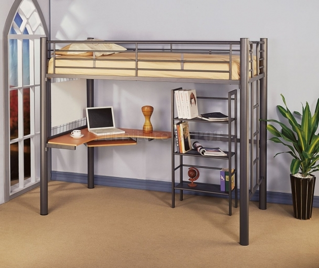 Bunk Bed With Desk Metal Image 13
