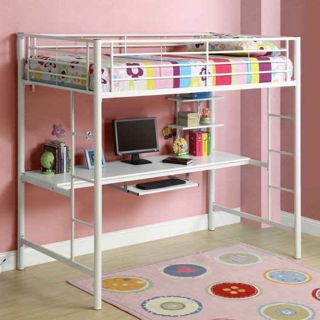 Bunk Bed With Desk White Metal Kids Loft Bed Images 60