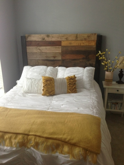 Headboards For Full Size Beds With Reclaimed Wood Headboard And Yellow White Bedding Set Ideas Pics 86