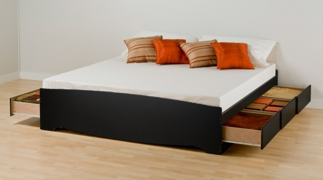 Platform Bed With Storage Minimalist Bedroom Interior And Furnishing With Low Profile Image 53