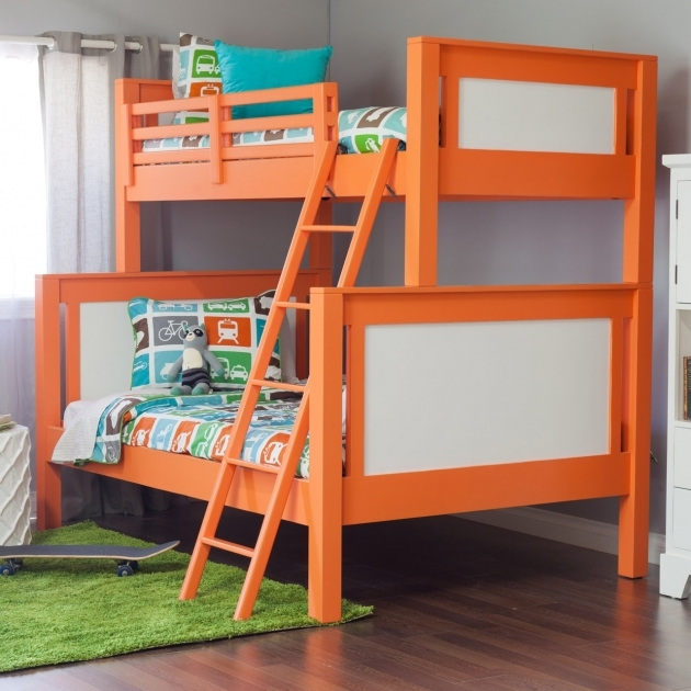 Toddler Bunk Beds Orange With Ladder And Transportation Themed Bedding Picture 46
