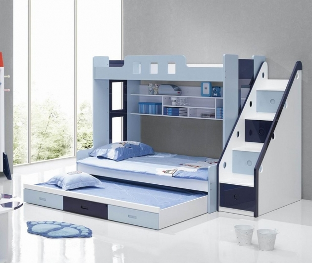 Toddler Bunk Beds With Stairs Modern Blue And White Bunk Beds And Trundle  Photo 03