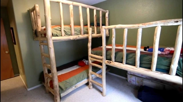 Triple Bunk Bed Natural Wood Style Pictures 93