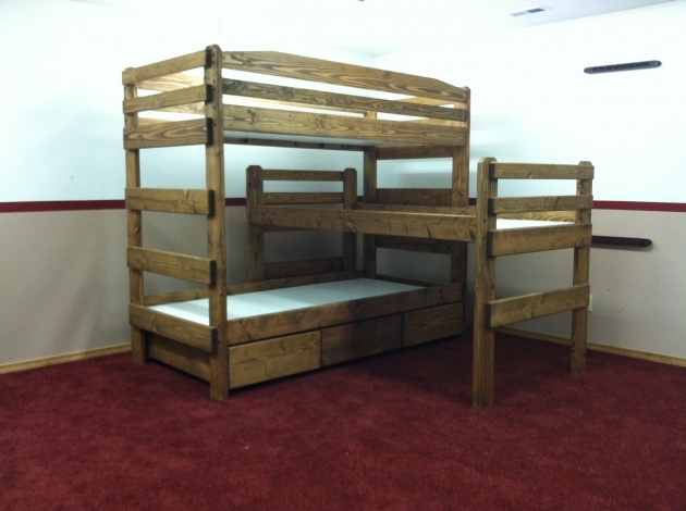 Triple Bunk Bed Wood Unfinished Photo 61 Bed Amp Headboards