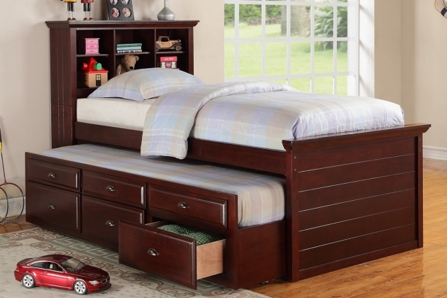 Twin Bed With Storage Drawers Bookcase White Cherry Wood Image 26
