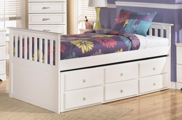 Twin Bed With Storage Modern White Bed Frame Pic 27