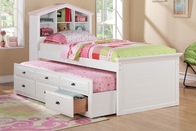 Twin Bed With Storage Poundex F9223 White Kids Girls Bookcase Twin Bed Trundle Drawers Pictures 55
