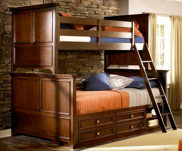 Twin Over Full Bunk Bed Chocolate Mahogany Wood With Stair Image 21