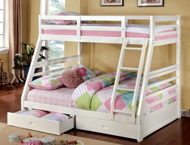Twin Over Full Bunk Bed White With Drawers  Images 51