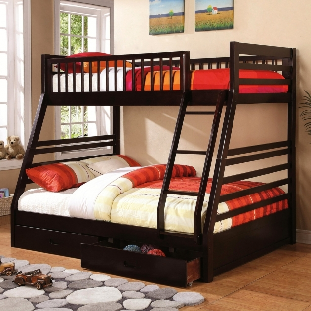 Twin Over Full Bunk Bed With Trundle Double Large Caster Storage Drawers Photos 03