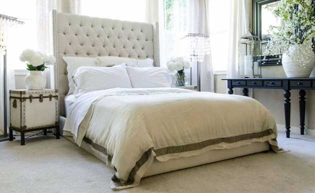 Upholstered Headboard Queen Fuller Tall Tufted Platform Bed Images 07