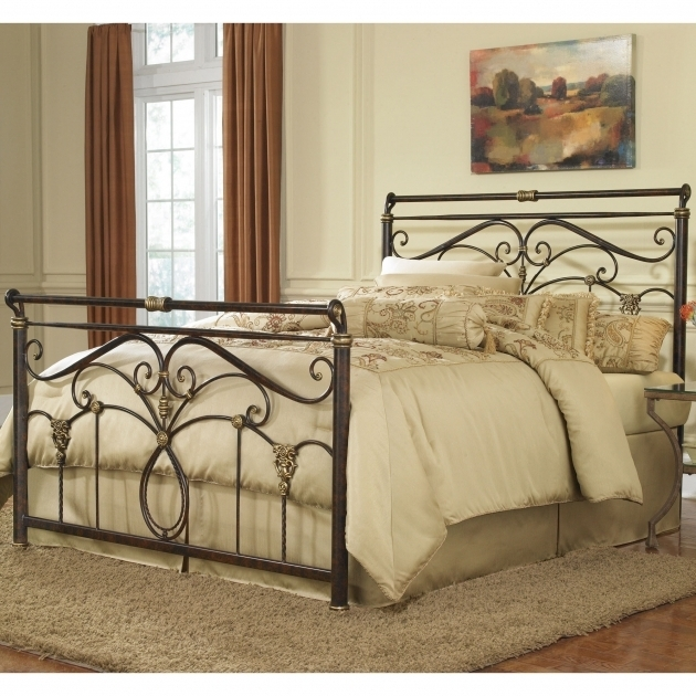 Antique Wrought Iron King Metal Bed Frame Headboard Footboard Bedroom Contemporary With Cream Sheet And Shag Rug Photo 65