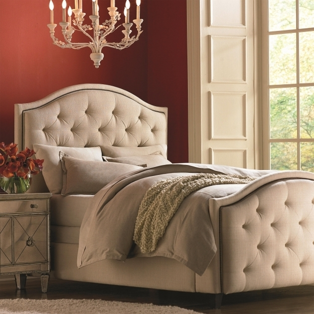 Tall Upholstered Headboard And Footboard Set With Nail