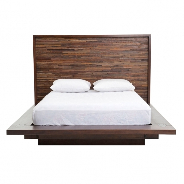 Best Mattress For Platform Bed Furniture Modern Brown Low Profile Bed Made Of Reclaimed Wood Photos 70