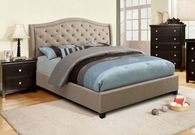 Best Mattress For Platform Bed Taupe Fabric Tufted Upholstered Bed Frame Beds Ideas Upholstered Black Wooden Short Legs Picture 15