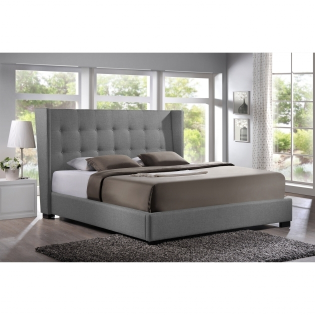 Chelsea Lane Capehart Grey Upholstered Platform Bed Wingback Pictures 41