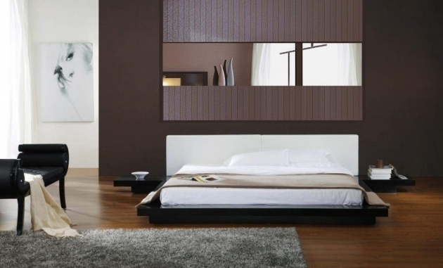 Contemporary Low Profile Platform Bed In Black Asian