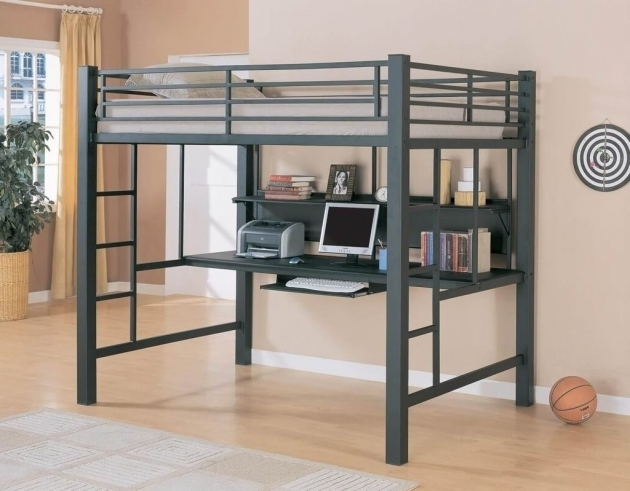 Distinctive Full Size Metal Loft Bed With Desk Images 13