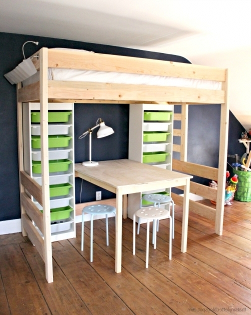 Merveilleux Diy Loft Bed With Desk And Storage Bunk Bed With Table Underneath Photos 23