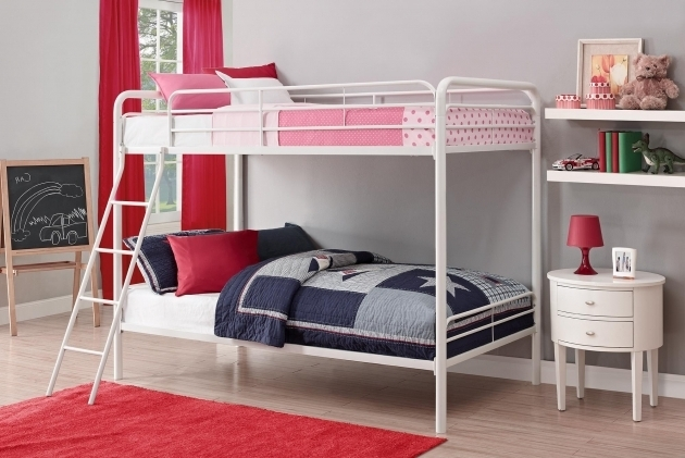 Dorel Twin Over Full Metal Bunk Bed Multiple Colors White Dhp Furniture Picture 05