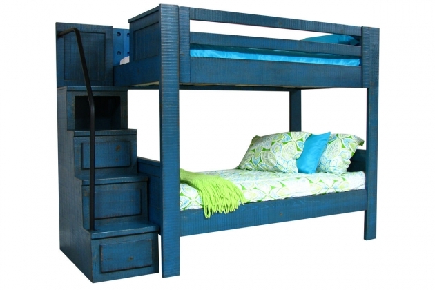 Full Over Full Bunk Beds Blue With Staircase Picture 40