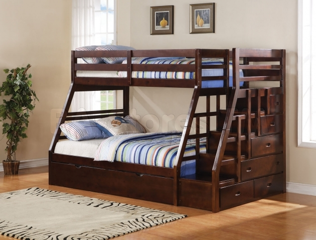 Full Size Bunk Beds  Ideal Brown Wooden Furniture Bedroom Image 73