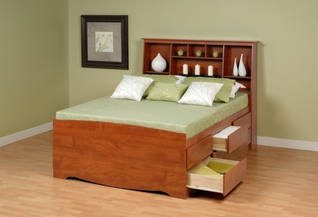 Full Size Headboard With Shelves And Bookcase All Storage Bed Image 15