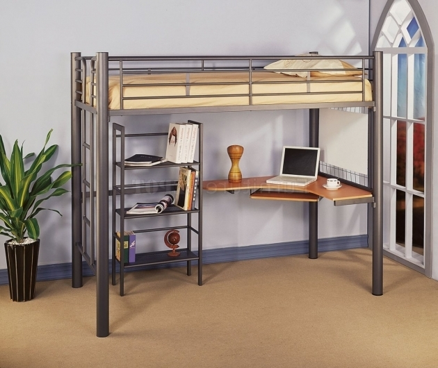 Black full size metal loft bed with desk underneath Full size loft beds with desk