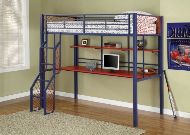 Full Size Metal Loft Bed With Desk 2019 Bed Amp Headboards