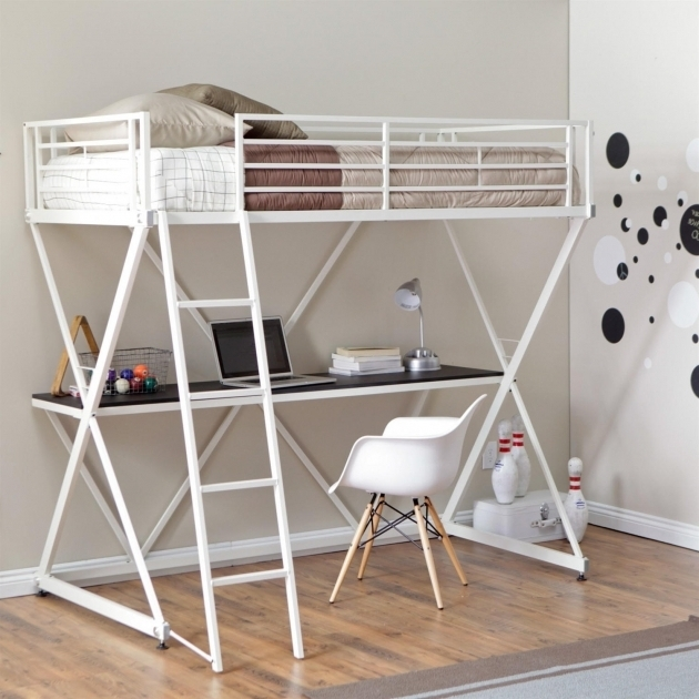 Full Size Metal Loft Bed With Desk White Ideas Photos 56