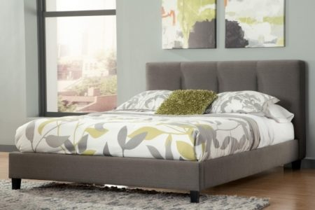 Grey Upholstered Platform Bed