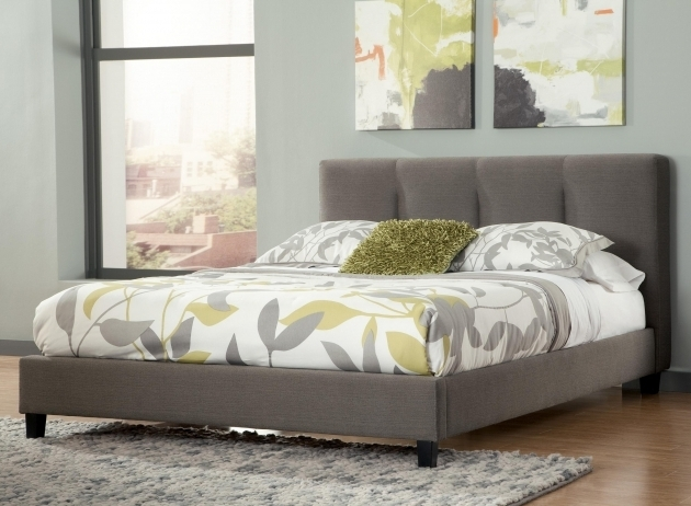 Grey Upholstered Platform Bed King With Channel Tufted Headboard Photo 61