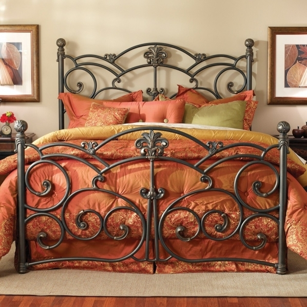 King Metal Bed Frame Headboard Footboard Iron Beds Image 66