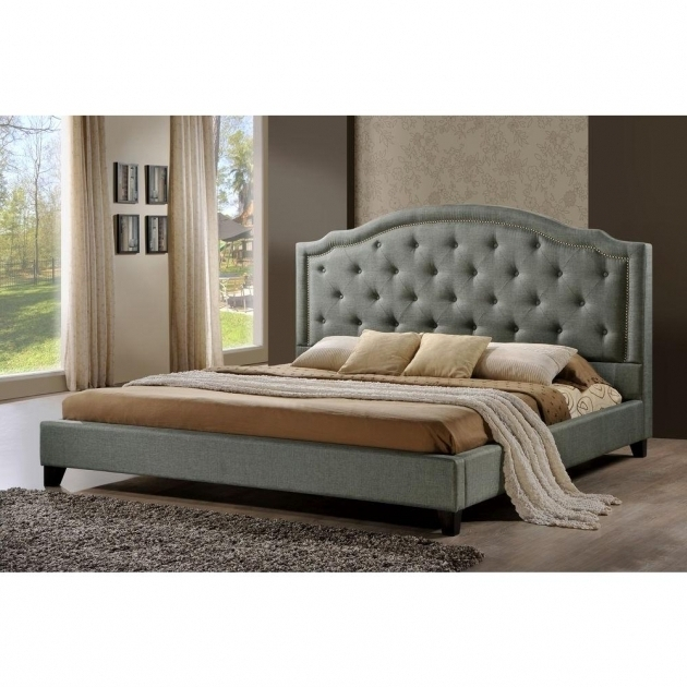 Luxeo Brentwood Fabric Queen Size Tufted Grey Upholstered Platform Bed Picture 68