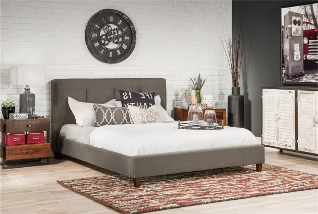 Masterton Eastern King Grey Upholstered Platform Bed With Wide Pictures 11