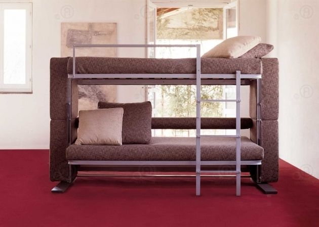 Minimalist Comfy Couch That Turns Into Bunk Bed Brown Sofa Fabric Material With Decorative Pillow In 2 Colors Photos 71