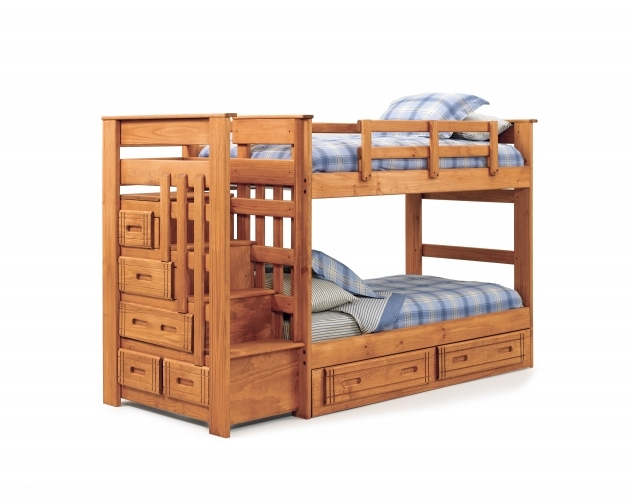Natural Polished Teak Wood Bunk Beds With Stairs With Double Storage Drawers Picture 51