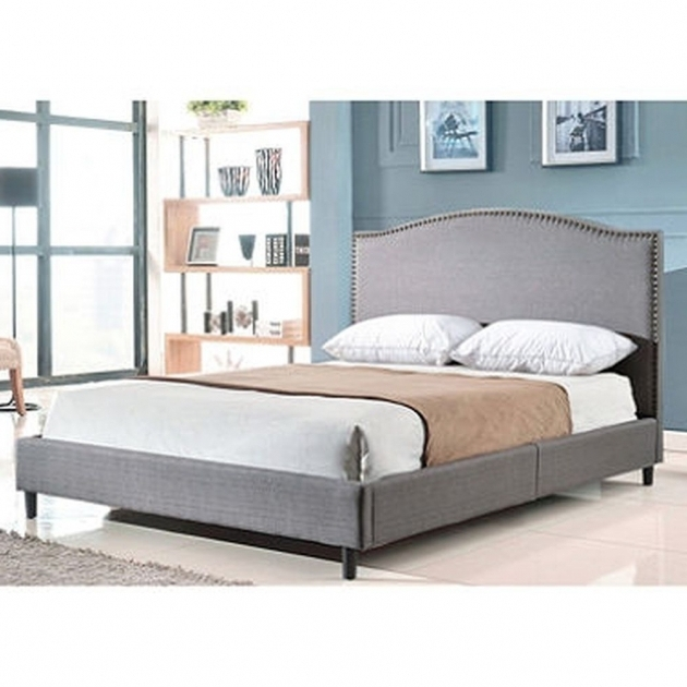 Platform Bed Queen With Headboard Grey Upholstered Platform Bed Fabric Linen Wood Frame Picture 37