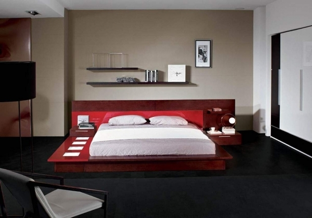 Platform Bed Two Tone Headboard With Nightstand Attached Dark Cherry And Brown Modern Images 47