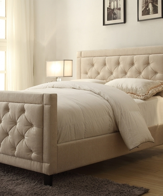 Pulaski Oyster Nusilk Button Tufted Upholstered Headboard And Footboard Set Image 39