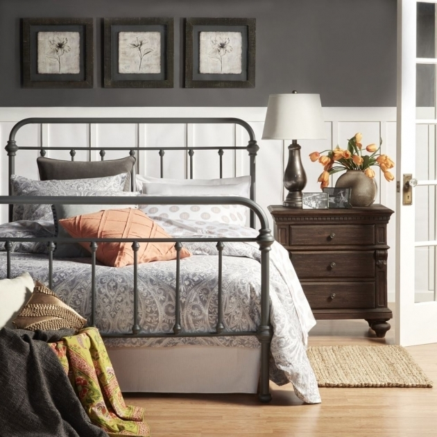 Rustic Metal Bed Frames Grey Iron Bed Frame Vintage Bedroom Furniture Image 89