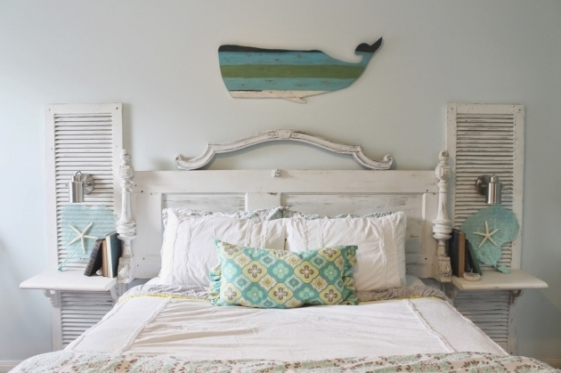 shabby chic beach bedroom with headboard with nightstand attached images 42