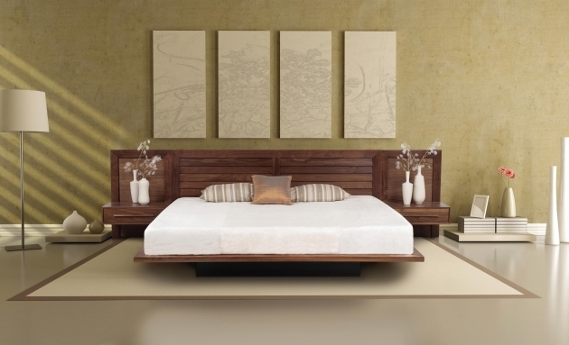 Solid Walnut Bed Headboard With Nightstand Attached Modern Interiors Pictures 61